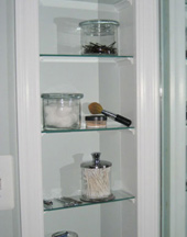 makeup glass shelves in Ankeny and Des Moines area
